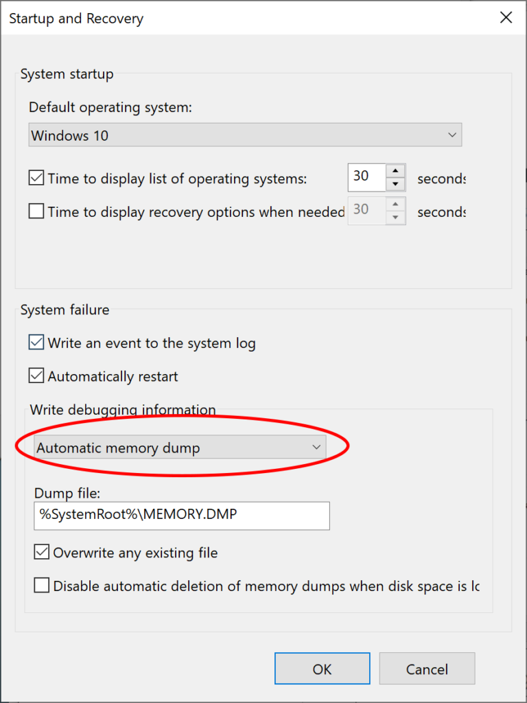 Initial Startup and Recovery dialog, with Write debugging information: Automatic Memory Dump circled