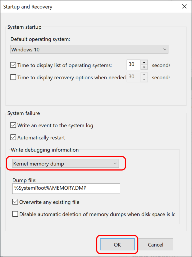 Kernel memory dump selected, ready to say OK