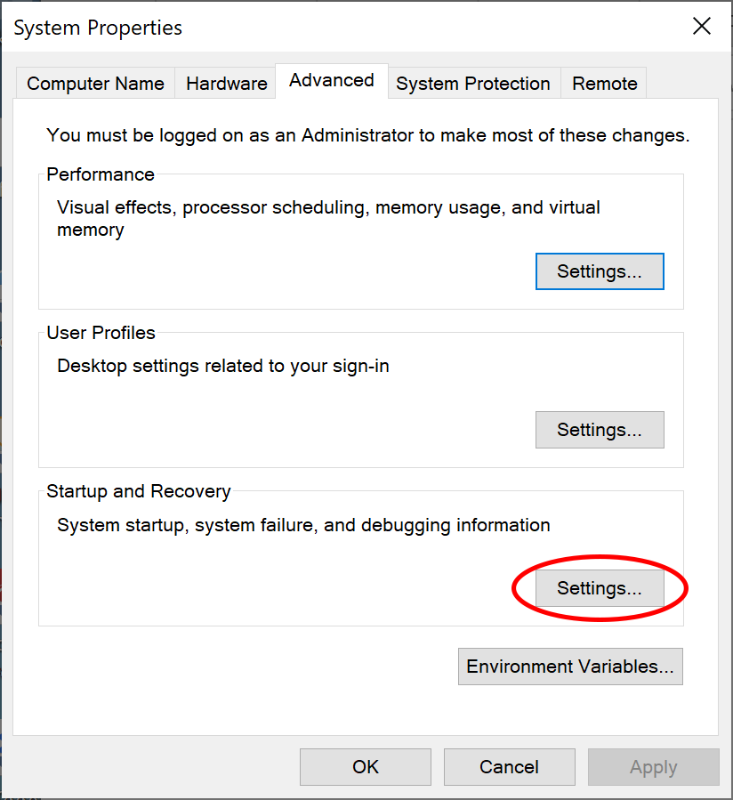 Advanced system properties dialog
