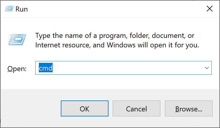 Windows 10 Run cmd dialog;
